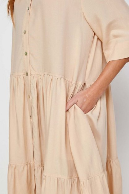 Amente -- Button Front Tired Skirt Midi Dress 1024 Butter