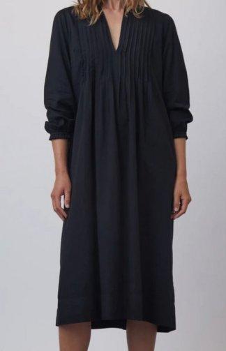 Raquel Allegra Victorian Pintuck Dress Y213-8509 in Black