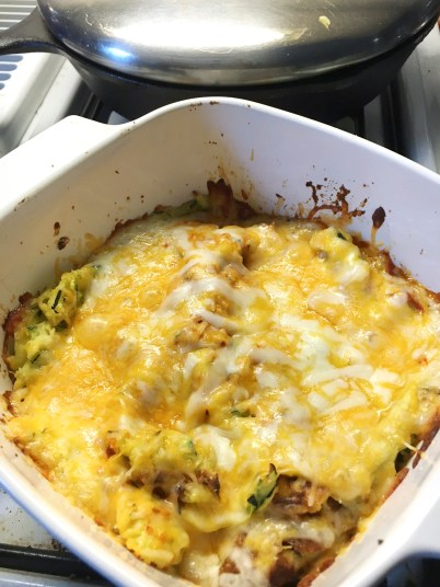 I put some tomato sauce, lots o'cheese and baked until the cheese was melty and oh so yummy