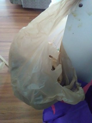 slob, humor, plastic bags