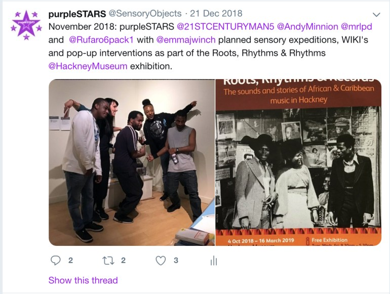 This is a picture of purpleSTARS during the installation of Hackney Museums Roots, Rhythms and Records exhibition.
