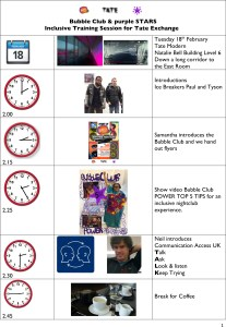 Easy Read Programme for inclusive workshop at Tate Modern page 1
