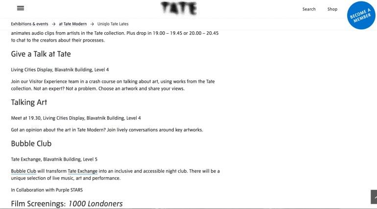 Tate Exchange webpage listings.