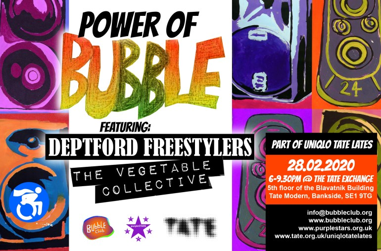 Poster for Tate Lates Power of Bubble Club on Friday 28.02.2020