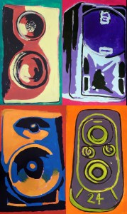 Painting of speakers for stage backdrop Bubble Power