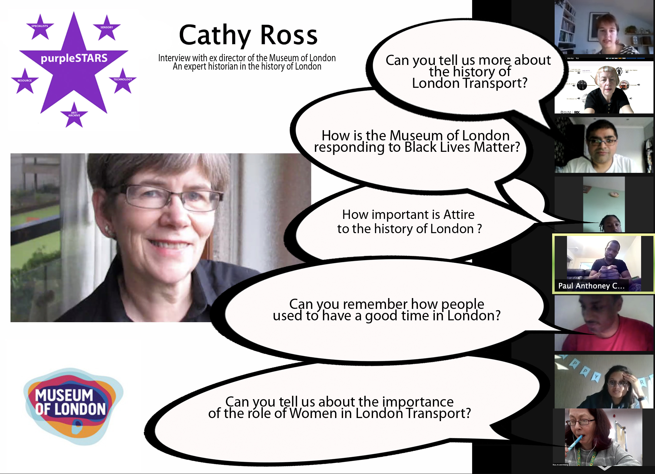 Image of interview with Cathy Ross and speech bubbles with questions