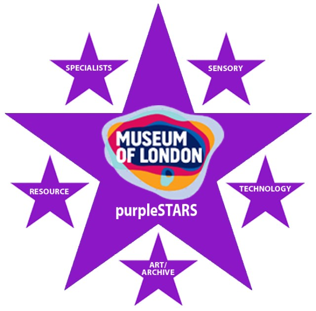 purpleSTARS Logo with Museum of London logo surrounded by five smaller stars