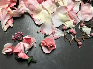 Deconstructed large flowers made into small page embellishments