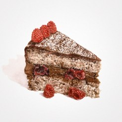 Watercolor illustration of a slice of a chocolate cake with berries at the top.