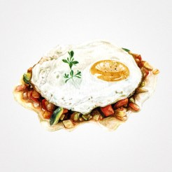 Watercolor illustration of mixed chopped vegetables with a fried egg on the top.