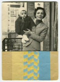 Vintage photo collage of a mother with her baby decorated with paper and yellow, beige and light blue washi tape.