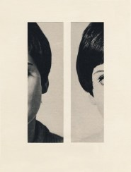 Photo collage of two vintage half face women.