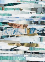 Collages of ocean paper stripes.