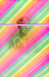 Vintage photo collage of a woman portrait with the eyes covered with a tiny pastel striped paper, background is made with oblique striped lined created with fluorescent highlighters.