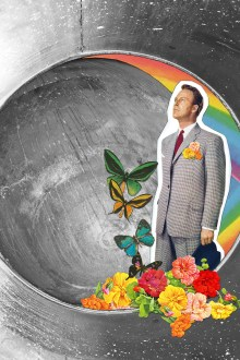 Collage of a man watching up decorated with butterflies and flowers. Surreal landscape as a background.
