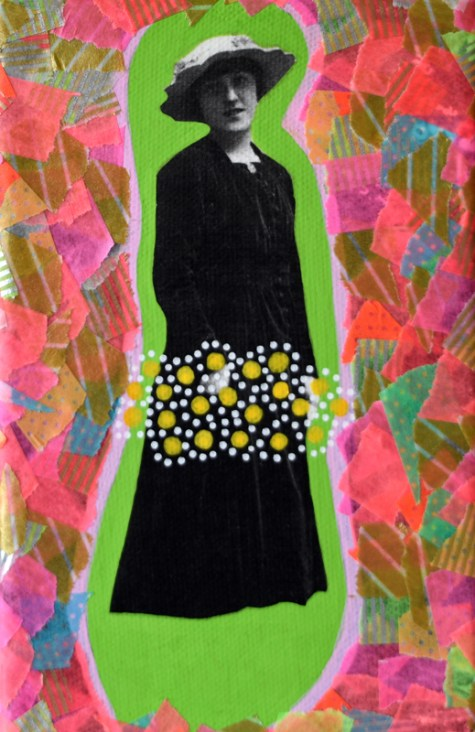 Collage of a vintage woman portrait decorated with pens and washi tape.