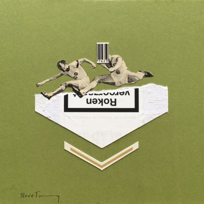 Photo of an handmade collage of two runners jumping putted on a green background.
