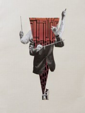Photo of an handmade collage of man arms directing an orchestra.