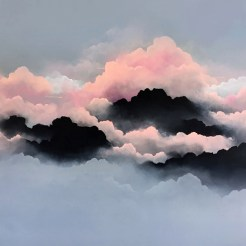 Painting of a group of clouds coloured in pink, black and grey.