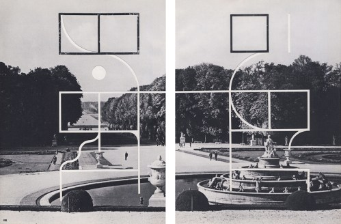 Diptych landscape photo in black and white decorated with minimal geometric forms.