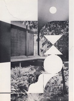 Collage of a black and white landscape photo decorated with white geometric forms.