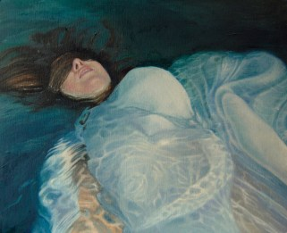 Female portrait paintings underwater.