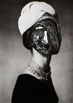 Collage of a faceless vintage woman portrait with a snake on her face and decorated with pin needles.