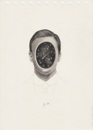 Pencil drawing on paper of a faceless man portrait.