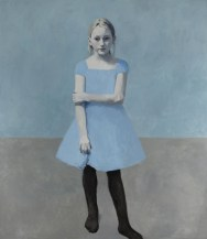 Full body portrait of a young girl with a light blue dress and a blue-grey background.