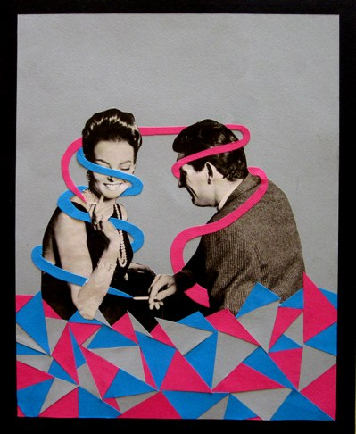 Collage of a smiling couple surrounded by red and blue paper cuts.
