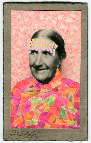 Collage over a vintage woman portrait decorated with fluorescent washi tape and pink and yellow pens.