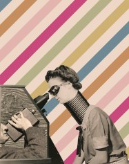 Collage of a woman with a long collar and a mask that is taking a look inside a box.