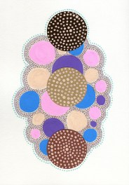 Abstract collage of organic and geometric forms realised using brown paper and dotty pens decorations.