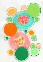 Abstract collage of organic and geometric forms realised with green and orange circular shades.