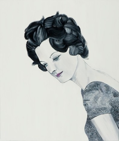 Painting of a woman portrait with a black and white dress.