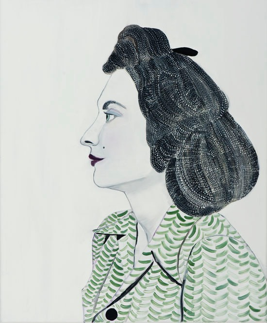 Painting of a woman portrait with a white and green dress.