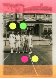 Collage on photo portrait of four female tennis players.