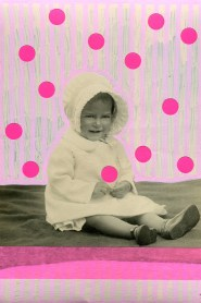 Collage over a baby girl vintage portrait decorated with pastel pink and neon pink colours.