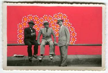 Collage on vintage photo of three men.