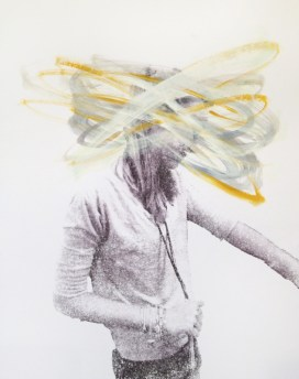 Woman portrait with the face covered with silver and yellow acrylic stripes.