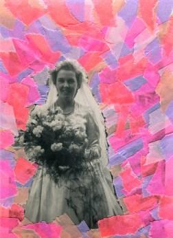 Collage on vintage wedding photo of a bride portrait.