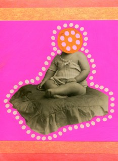 Collage over a vintage baby portrait decorated with fluorescent pink and orange colours.