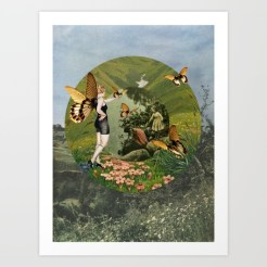 Landscape collage with butterflies and a fairy woman with butterflies wings.
