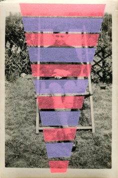 Collage on a vintage photo portrait of a kid sit on a chair outdoor.