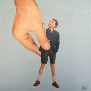 Collage of a giant hand holding a little boy.