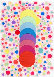Abstract collage of organic and geometric forms realised using colorful circle paper and dotty decorations.