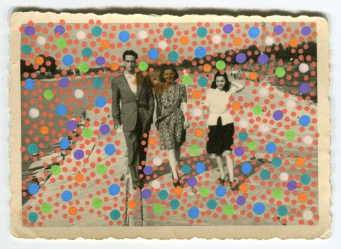 Collage created over a found vintage photo of a group of young and smiling people.