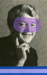 Collage created over a vintage portrait photo of a woman decorated using purple pens and blue and lilac washi tape.