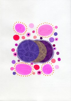 Abstract collage of organic and geometric forms realised using purple and pink bright shades.