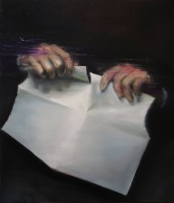 Painting of a pair of hands that are tearing up a sheet of paper